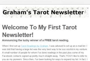 Graham s Tarot Newsletter Issue  1   Announcing the winner of a free reading